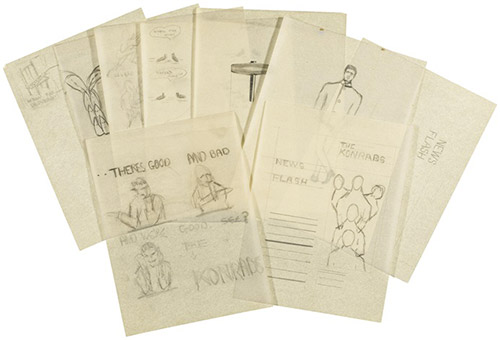Sketches and designs for the promotion of The Konrads 1962–1963